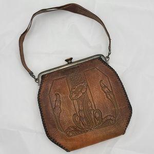 Vintage 30s tooled leather handbag
